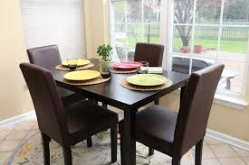 4 Person Kitchen Table Amazoncom 5 Pc Espresso Leather Brown 4 Person Table And Chairs
