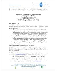 job postings deafbc ca sign language summer program jobs at silent voice