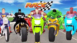 bike racing videos for children by spiderman ironman hulk batman superman cartoons youtube batman superman iron man