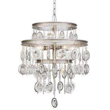 charmed 7 light silver with champagne mist chandelier with clear crystal beads