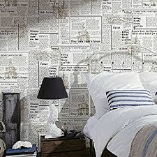 Blooming Wall: Faux Vintage Newspaper Pattern Wallpaper Roll For Livingroom  Bedroom, 20.8 In32.