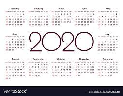 Calendar 2020 Template Free Calendar 2020 Year Simple Template