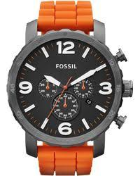 fossil mens chronograph nate orange silicone strap watch 50mm fossil mens chronograph nate orange silicone strap watch 50mm first macys lyst
