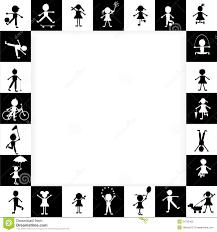 Struttura In Bianco E Nero Con I Bambini Stilizzati Illustrazione