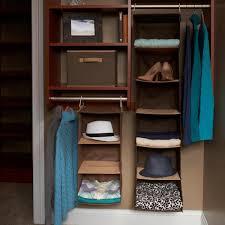brown hanging closet organizer