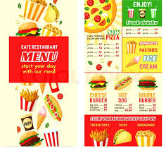 Free Food Menu Template Mesmerizing Fast Food Restaurant Menu Template For Burger Or Pizza And Desserts
