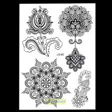 временная татуировка Black Flowers Lotus Mehndi Temporary Tattoo
