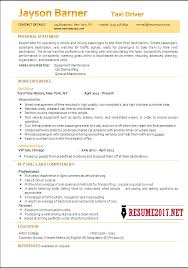Resume Examples For Taxi Driver Resume Ixiplay Free Resume Samples