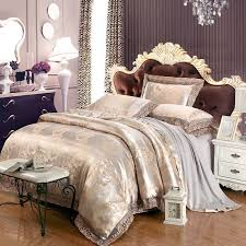 silver and pale yellow vintage fl pattern sequin shabby chic jacquard satin full queen size bedding sets