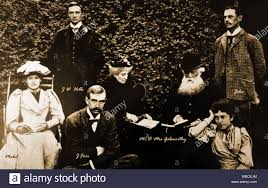 A family group photograph showing John Galsworthy, writer with his mother  and father, Lily Galsworthy, Mabel Galsworthy, J W Hills and J Fair Stock  Photo - Alamy