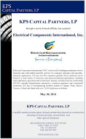 electrical components international kps capital partners Wire Harness Assembly Boards eci closing tombstone final