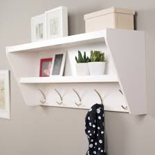 White Wall Mounted Coat Rack With Shelf Adorable Furniture White Painted Wooden Wall Mounted Coat Rack With Shelves