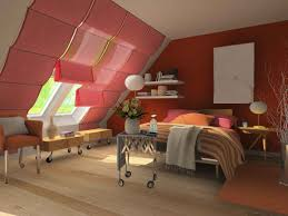 Bedroom  Elegant Attic Bedroom With Very Sloping Roof Design Idea - Attic bedroom
