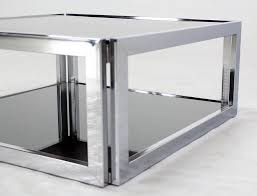coffee table square chrome and smoked glass coffee table mid century modern all glass
