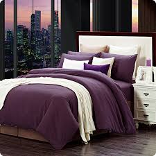modern home textile 100 cotton sanding solid dark purple print brief bedding set designer 4pcs