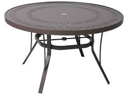suncoast patterned square aluminum 42 round metal coffee table with umbrella hole