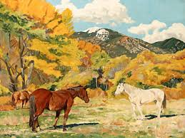 cottonwood and wild horses by walter ufer