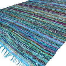 light blue colorful decorative chindi woven boho bohemian rag rug 3 5 x 5 5 ft