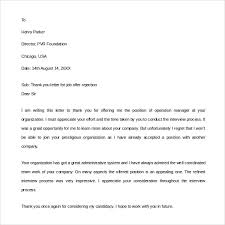 Work Thank You Note Basic Portray Ideas Of Letter Job Offer Reject ...