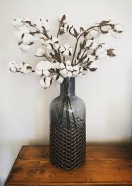 Charcoal vase with embedded copper chicken wire + Cotton ball stems