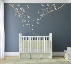 tree wall decal two branches and butterflies custom baby nursery children s room living space interior design easy application 069 on tree wall art for baby nursery with tree wall decal two branches and butterflies custom baby nursery