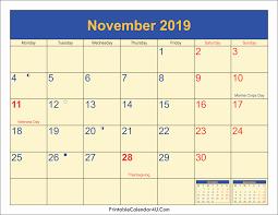 November 2019 Modifiable Printable Calendar November 2019