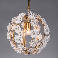 modern white ceramic flowers 1 light wrought iron globe chandelier pendant lamp