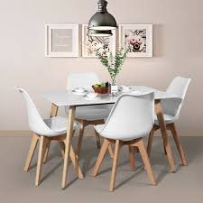 White Modern Kitchen Dining Table Seat Of 6 With Mdf Top Solid Wood