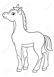 Coloring Pages Farm Animals Little Cute Foal Smiles Royalty Free