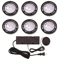 types of under cabinet lighting. 6-Light Xenon Black Under Cabinet Puck Light Kit Types Of Lighting O