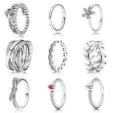<b>9 Style</b> 1 Pcs Women <b>925 Sterling</b> Silver Rings Jewelry Flower ...