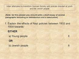 nazi exam questions hitler attempted to transform german society 2 hitler attempted