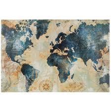 blue gold world map canvas wall decor