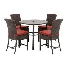 brown steel outdoor patio dining set