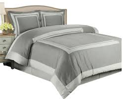 hotel 100 cotton 300tc duvet cover set gray and light gray twin