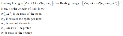 formulas for binding energy