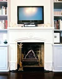 fireplace mantel with tv above fireplace mantel tv above