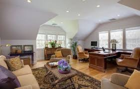 home office designers. Home Office With Pitched Ceiling And White Furniture View In Gallery Designers