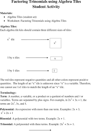 worksheet factoring special s worksheet with answers factoring trinomials using algebra tiles student activity pdf the