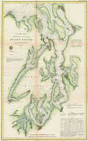 Details About 1867 Nautical Chart Coast Coastal Survey Map Puget Sound Washington Wall Poster