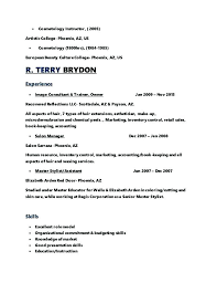 Model Resume Template Stunning Cosmetology Resumes Entry Level Cosmetology Resume Cosmetologist