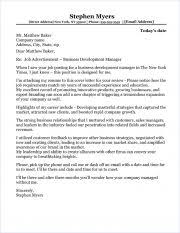 Business Development Manager Cover Letter Sample Business Development Manager Cover Letter Sample