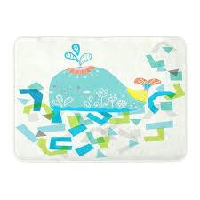 whale bath rug east urban home blue yellow and green whale bath rug