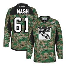 Camo New Nash York Reebok Rangers Veterans Jersey ��61 Rick Day Practice Authentic Men's