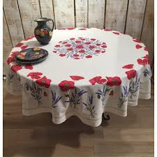 frenchictoyou le tissu provencal round tablecloth cotton white poppies 70 inches
