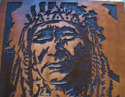 custom made native american indian chief handmade wood carving wall art