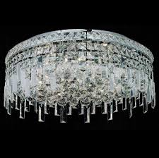 picture of 20 bossolo transitional crystal round flush mount chandelier polished chrome 8 lights