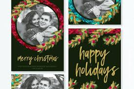 Template Photoshop Christmas Card Template Holiday Painted