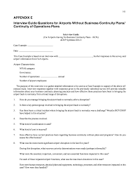 Appendix E Interview Guide Questions For Airports Without Business