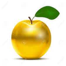 yellow apple clipart. golden apple: vector apple with green leaf isolated on white background yellow clipart